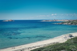 amazing view of spiaggia li feruli in north sardinia, italy