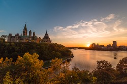 Amazing View of Sunset at Parliament Hill in Ottawa, Ontario, Canada