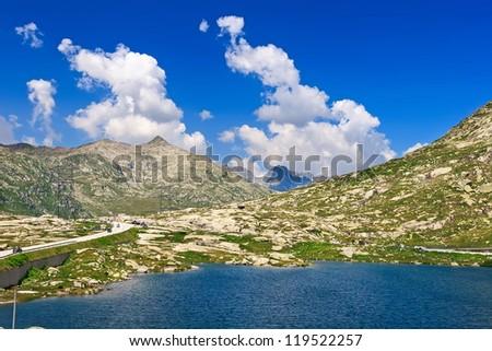 Amazing view of Swiss Alps in St. Gotthard Pass from Andermatt city, Switzerland