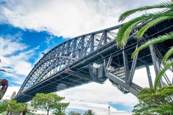 Amazing view of Sydney Harbour Bridge on a cloudy day, New South Wales, Australia.