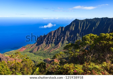 Amazing view of the Kalalau Valley and the Na Pali coast in Kauai. - stock photo