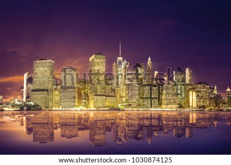 amazing view of the Lower Manhattan Financial District #1030874125