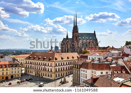Amazing view of the old tow and Cathedral of St. Peter and Paul in Brno, Czech Republic