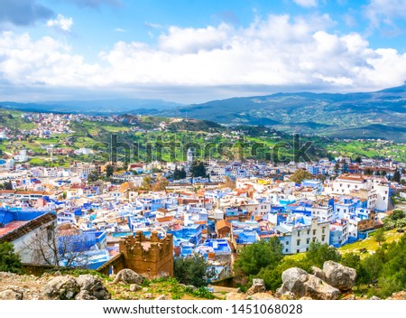 Amazing view of the streets in the blue city of Chefchaouen. Location: Chefchaouen, Morocco, Africa. Artistic picture. Beauty world