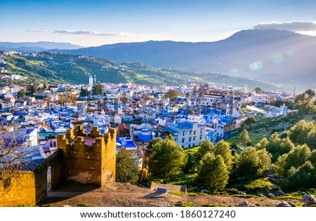 Amazing view of the streets in the blue city of Chefchaouen. Location: Chefchaouen, Morocco, Africa. Artistic picture. Beauty world Stockfoto ©
