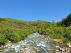 Amazing view of water stream in Peja's beautiful nature