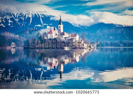 Stock Photo amazing View On Bled Lake, Island,Church And Castle With Mountain Range (Stol, Vrtaca, Begunjscica) In The Background-Bled,Slovenia,Europe