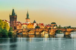 Amazing view on Charles bridge and historical center of Prague, buildings and landmarks of old town, Prague, Czech Republic