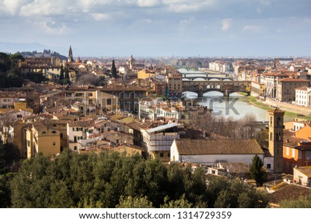 Amazing view on Florence city and its main bridges and ponte vechio over Arno. Awesome cityscape of Florence roofs, Italy. Florence from above, near observation deck. Bushes on the foreground, skyline