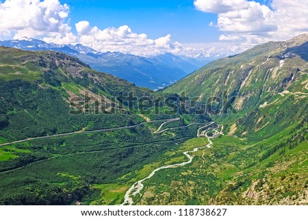 Amazing view over Swiss Alps from Furka Pass (el. 2429 m), Switzerland