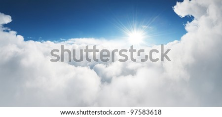 Stock Photo amazing view to sky above clouds