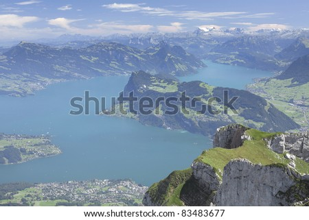 amazing view to the lake from the top of mountain (Pilatus) - stock photo