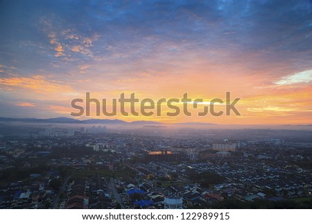 Amazing view to top view at sunrise