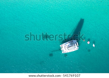 amazing view to yacht in sea. drone photo. #541769107