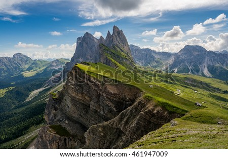 Amazing views in the Dolomites mountains. Views from Seceda over the Odle mountains are spectacular. - Shutterstock ID 461947009