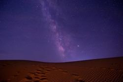 Amazing views of the  china desert under the night starry sky