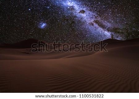 Amazing views of the Sahara desert under the night starry sky
