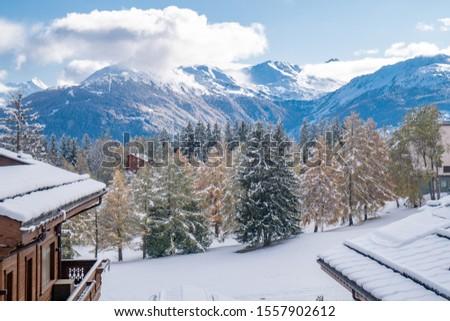 Amazing views of the Swiss Alps - Crans Montana Switzerland Photo stock ©