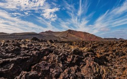 Amazing volcanic landscape of Lanzarote island, Timanfaya national park, Spain. October 2019
