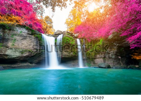 Shutterstock Amazing waterfall in colorful autumn forest