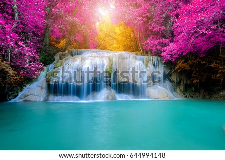 amazing waterfall in colorful...