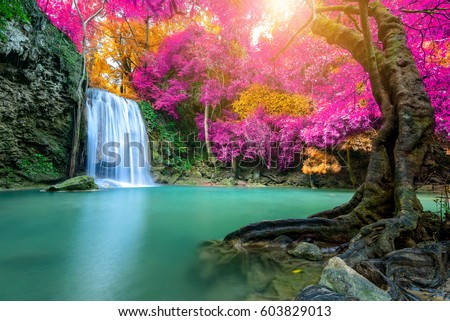 Shutterstock Amazing waterfall in wonderful autumn forest