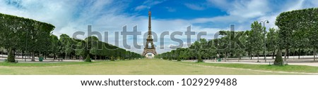 Amazing wide panorama of Champs de Mars and Eiffel tower in paris, no people