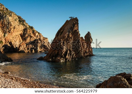 Amazing Wild rock beach at the sunset. Sintra Cascais Natural Park Portugal