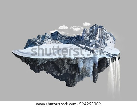 Stock Photo Amazing winter island with grove floating in the air with water fall and snow