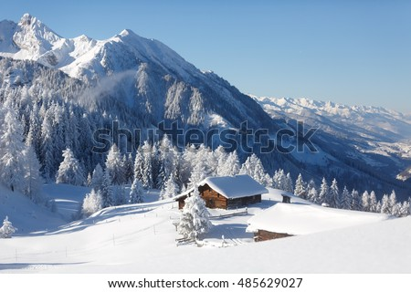 Amazing winter landscape in Austrian alps