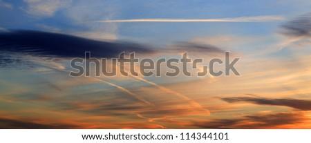 Amazingly colourful sunset over Leeds West Yorkshire