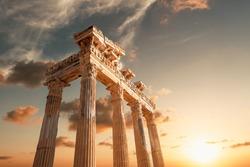Amazingly Temple of Apollon ancient ruins. Apollon temple in Side antique city, Antalya, Turkey.