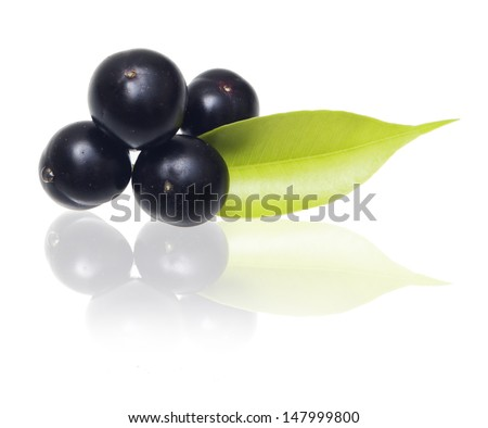 Amazon acai fruit with leaf isolated on white background