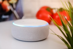 Amazon echo dot, Voice controlled speaker with activated voice recognition with tomatoes and cook book on white and brick background.