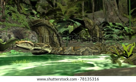 amazon python in water