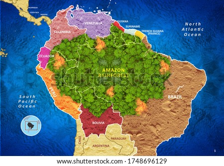 Amazon Rainforest Map With Bordered Countires, 3D Illustration
