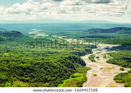 amazon rainforest river forest rain aerial jungle ecuador view above trees america pastaza creek basin overlooking shot from mid altitud total size helicopter amazon rainforest river forest rain aeria