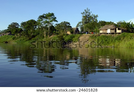 Amazon river margin riverbank and sky landscape reflex