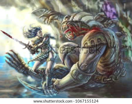 Stock Photo Amazon warrior with a sword against a demon in a cave. Colorful picture in the genre of fantasy.