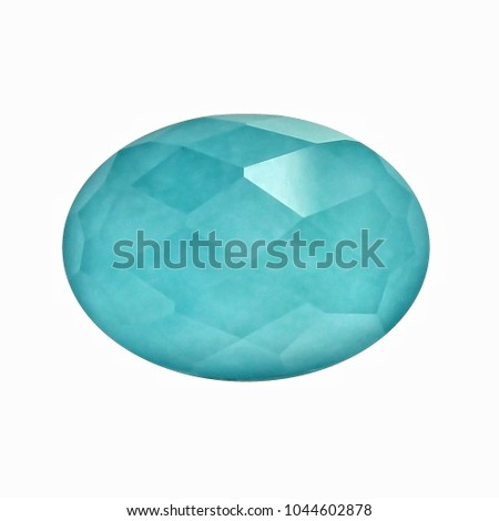 Amazonite checkerboard oval shape with white backgrond