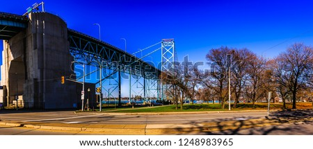 Ambassador Bridge at Detroit and Windsor, international border between US and Canada. #1248983965