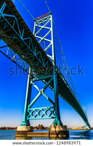 Ambassador Bridge at Detroit and Windsor, international border between US and Canada. #1248983971
