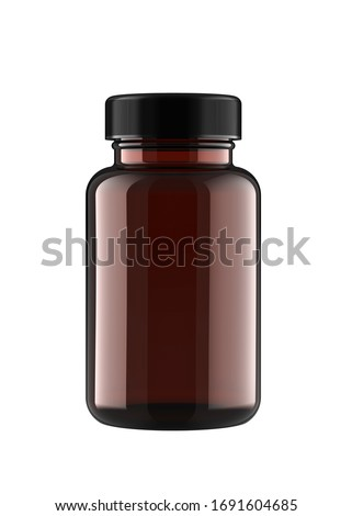 Amber Brown Transparent Plastic Bottle for Pills Packing. 3D Render Isolated on White Background. Сток-фото ©