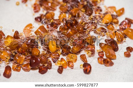Amber. Jewelery from amber. Beads from amber. #599827877