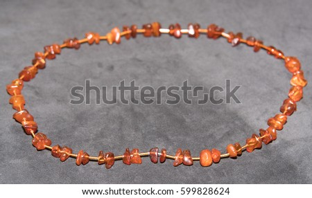 Amber. Jewelery from amber. Beads from amber. #599828624