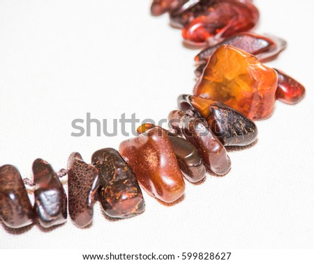 Amber. Jewelery from amber. Beads from amber. #599828627