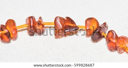 Amber. Jewelery from amber. Beads from amber. #599828687