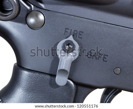 Ambidextrous fire controls on an AR rifle ready to fire