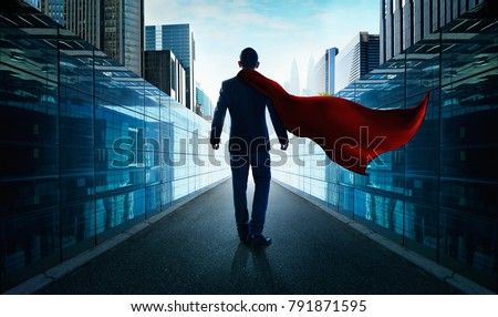 Ambitions concept with hero businessman walking from alley to modern city .