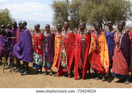 AMBOSELI, KENYA - SEPT. 17:  Unidentified Masai tribesmen, dressed in traditional regalia, greet tourists to their compound on September 17, 2007 in Amboseli National Park, Kenya.